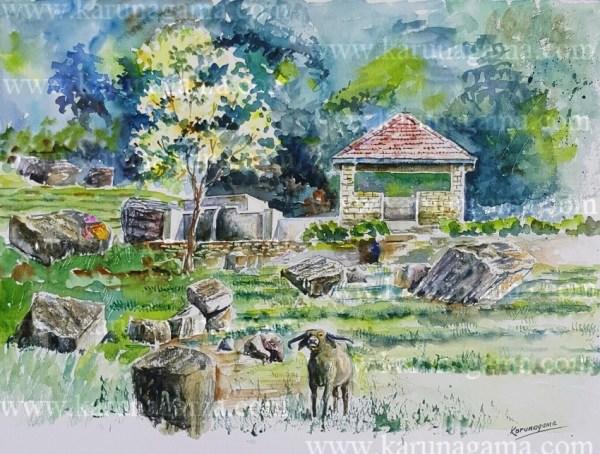 Online, Art, Art Gallery, Online Art Galley, Sri Lanka, Karunagama, Watercolor, Water Colour, Water spout, Kotmale, Ranamune, Ranamure, Ranamune amblalama, Ranamune pihilla,