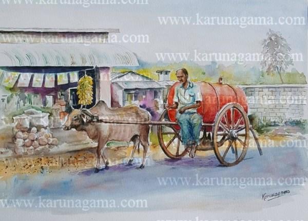 Online, Art, Art Gallery, Online Art Galley, Sri Lanka, Karunagama, Watercolor, Water Colour, Kerosene cart, Kerosene distribution, Old kerosene cart,