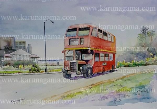Online, Art, Art Gallery, Online Art Galley, Sri Lanka, Karunagama, Watercolor, Water Colour, Sri lanka transportation, Old Sri lanka busses, Old London busses, Old double decker busses,