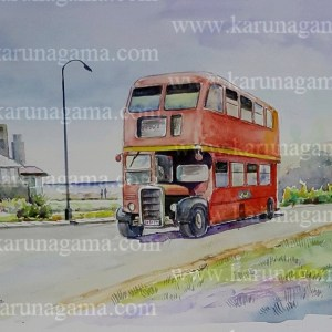 Online, Art, Art Gallery, Online Art Galley, Sri Lanka, Karunagama, Watercolor, Water Colour, Sri lanka transportation, Old Sri lanka busses, Old London busses, Old double decker busses,