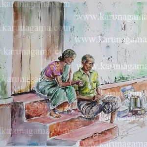 Online, Art, Art Gallery, Online Art Galley, Sri Lanka, Karunagama, Watercolor, Water Colour, Couple, Food stuffs, monthly budjet,