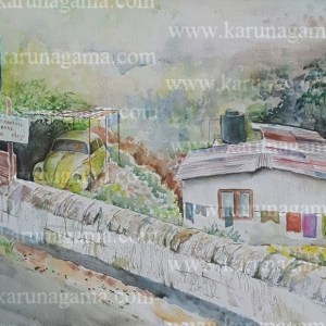 Online, Art, Art Gallery, Online Art Galley, Sri Lanka, Karunagama, Watercolor, Water Color, Garages, Garages in Sri lanka, Hill country, Volkswagen, Volksvwagen Beetle, Restoration of Beetle, Restoration of VW, Landscape paintings,