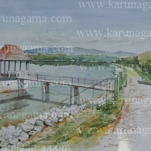 Online, Art, Art Gallery, Online Art Galley, Sri Lanka, Karunagama, Watercolor, Water Color, Sri lanakna lakes, Lake bunt, landscape paintings,