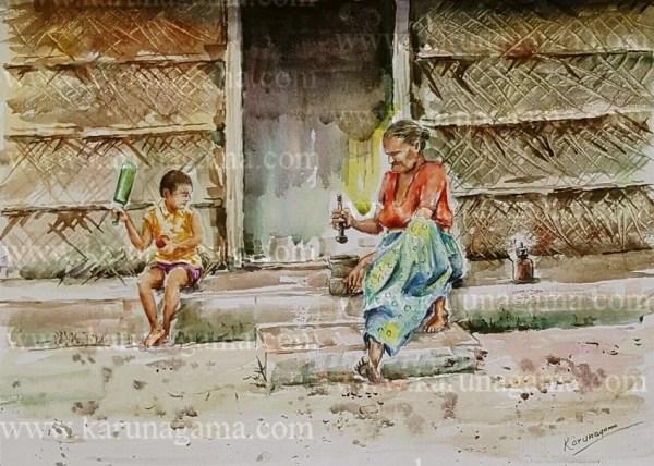Art, Art Gallery, Grinding betel, Karunagama, Old women, Online, Online Art Galley, Sri Lanka, Sri lanka Old People, Sri lanka Paintings, Water Colour, Watercolor