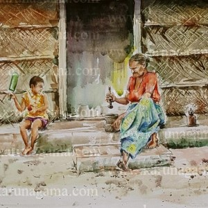 Art, Art Gallery, Grinding betel, Karunagama, Old women, Online, Online Art Galley, Sri Lanka, Sri lanka Old People, Sri lanka Paintings, Water Colour, Watercolor