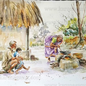 Art, Art Gallery, Frying vade, Karunagama, Oily food in Sri lanka, Online, Online Art Galley, Sri Lanka, Water Colour, Watercolor
