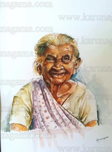 Art, Art Gallery, Karunagama, Portraits, Watercolor portraits, Smiling face, Old lady, Sri lankan lady. Online, Online Art Galley, Sri Lanka, Water Colour, Watercolor