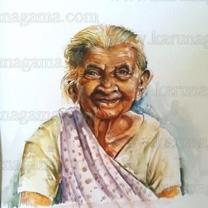 Art, Art Gallery, Karunagama, Portraits, Watercolor portraits, Smiling face, Old lady, Sri lankan lady. Online, Online Art Galley, Sri Lanka, Water Colour, Watercolor