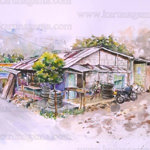 Art, Art Gallery, Karunagama, Landscapes, Landscapes in Sri lanka, Online, Online Art Galley, Shaggy store, Shops, Tire shops, Sri Lanka, Water Colour, Watercolor