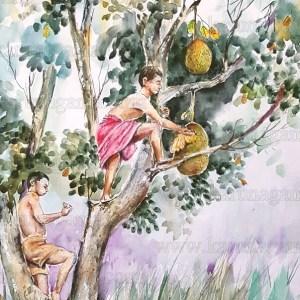 Art, Art Gallery, Jack fruit meal, Jack tree, Karunagama, Landscapes, Landscapes in Sri lanka, Online, Online Art Galley, Sri Lanka, Sri lankan food, Water Colour, Watercolor Published