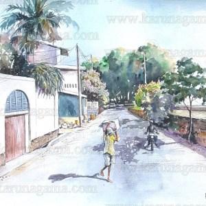 Art, Art Gallery, Ceylon, Devotees, Devotees in Sri Lanka, Hospital street, Galle, Karunagama, Landscapes, Landscapes in Sri lanka, Old Sri lanka, Online, Online Art Gallery, Sri Lanka, Water Colour, Watercolor