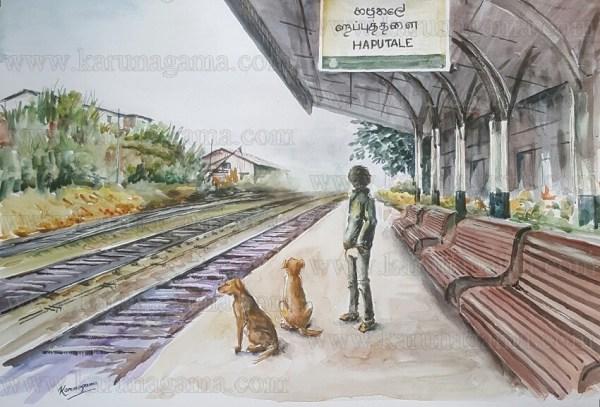 Art, Art Gallery, Karunagama, Online, Online Art Galley, Paintings of trolleys, Paintings of Haputale, Haputale station, Railways, Sri Lanka, Sri lanka Paintings, Srilanka Railways, Vehicles, Water Colour, Watercolor,