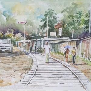 Art, Art Gallery, Railway in Sri lanka, Ceylon, Karunagama, Landscapes, Landscapes in Sri lanka, Station road, Kandy, Kandy old time, Old Sri lanka, Online, Online Art Gallery, Sri Lanka, Water Colour, Watercolor
