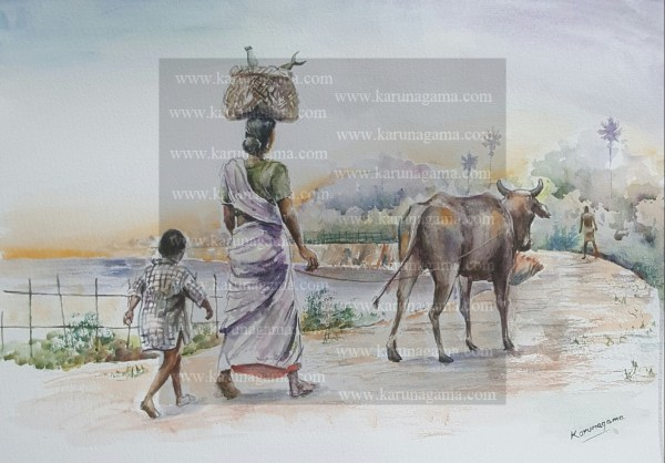 Online, Art, Art Gallery, Online Art Galley, Sri Lanka, Karunagama, Watercolor, Water Colour, Couple, Food stuffs, Dusk, Lake, Village, Mother and son, Evening painting,