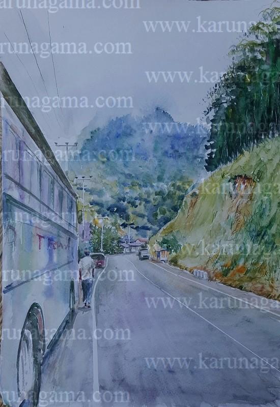 Online, Art, Art Gallery, Online Art Galley, Sri Lanka, Karunagama, Watercolor, Water Colour, Mountains of Sri Lanka, Hunnasgiriya, Sri lanka paintings,