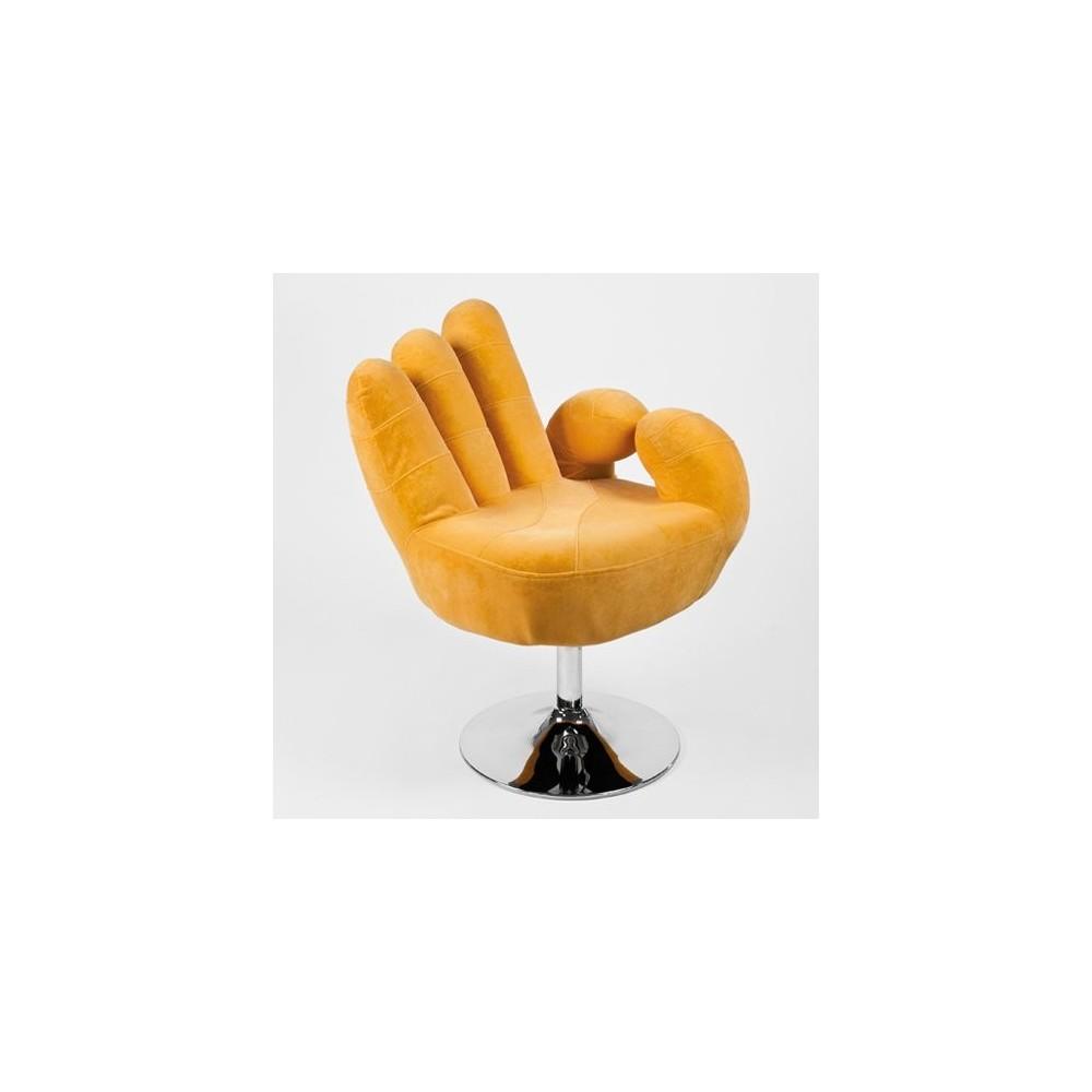 Poltrona a forma di mano con base girevole e elevazione a