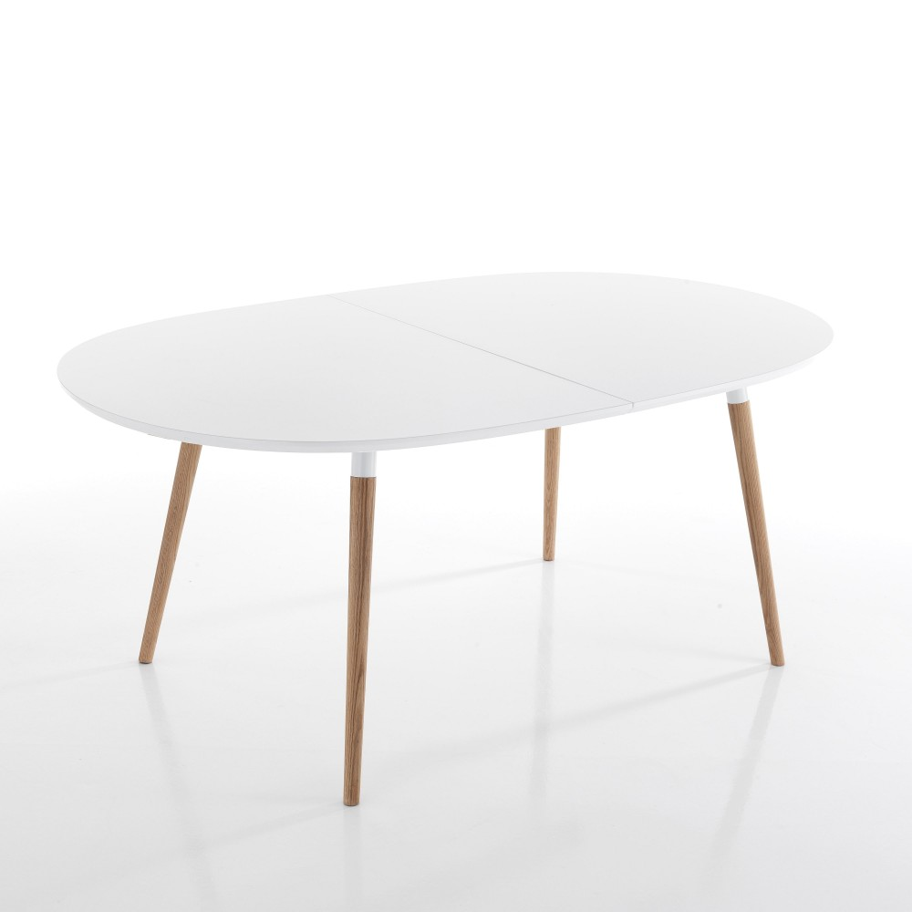 table extensible ego wood de tomasucci avec pieds en bois massif et plateau en bois mdf
