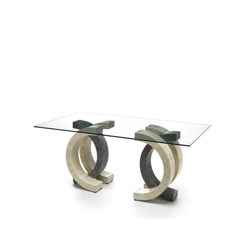 table fixe olimpia avec plateau en verre transparent et structure en pierre fossile disponible en deux tailles et deux finitions