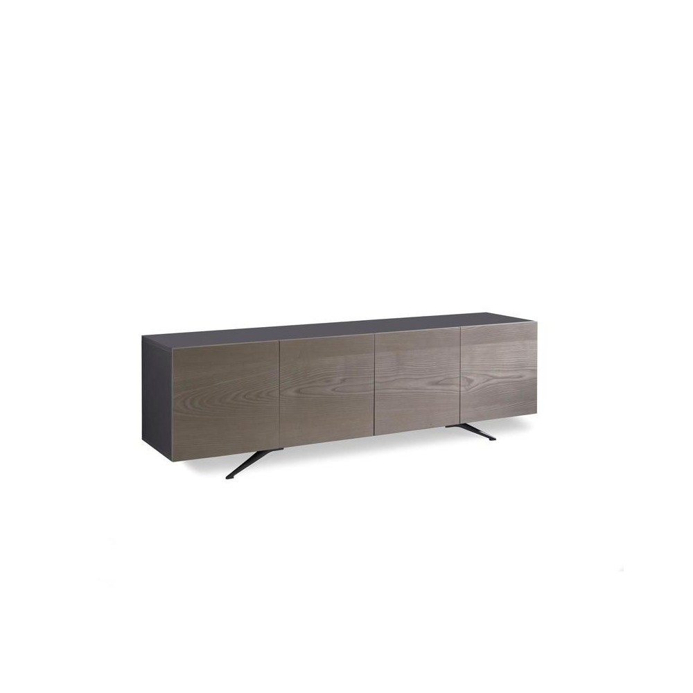buffet ou meuble tv pegaso avec 4 portes de stones en melamine noir avec portes plaquees chene gris