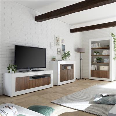 meuble tele moderne couleur noyer et blanc laque mabel 4