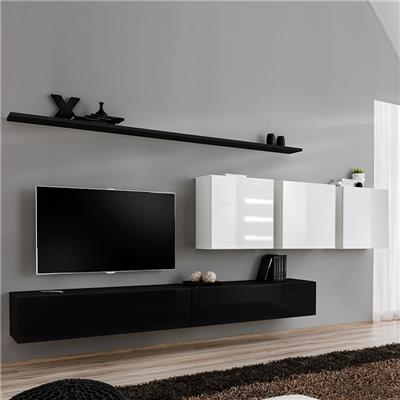 meuble tele suspendu noir et blanc anselmo 2