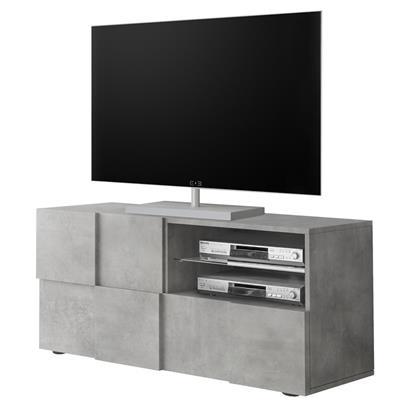 meuble tele 120 cm design gris effet beton dominos 4
