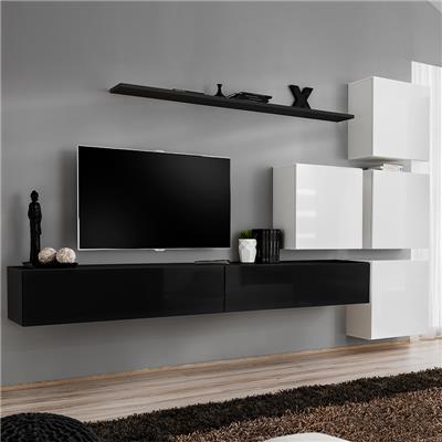 meuble tele suspendu noir et blanc curzio 2