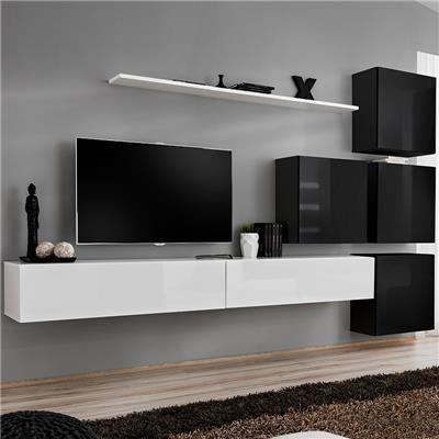 meuble tele suspendu blanc et noir curzio