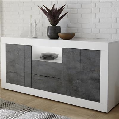 meuble bahut 180 cm moderne blanc et gris mabel 6