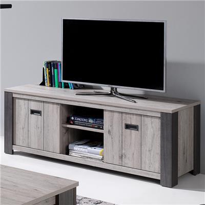 meuble tele 150 cm contemporain couleur bois gris melany