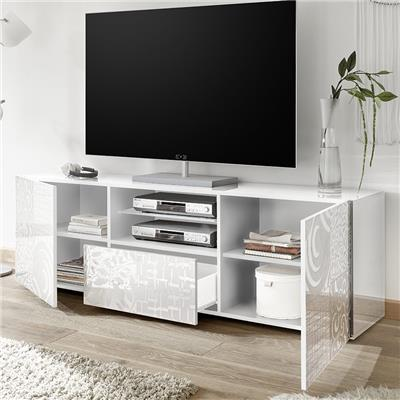 grand meuble tv blanc laque design nerina