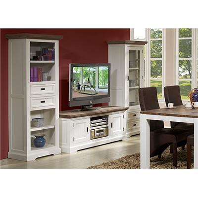 meuble tv contemporain en bois massif blanc emeline