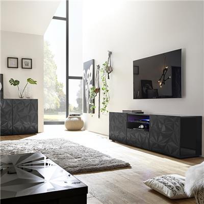 grand meuble tele lumineux design laque gris nino 2