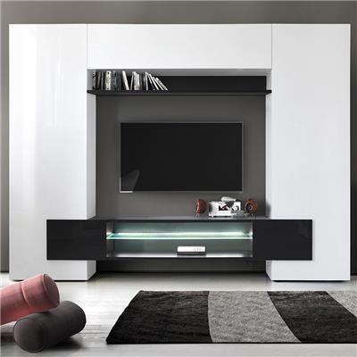 meuble tv mural laque blanc et noir eros 3