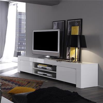 meuble tv blanc laque design paula