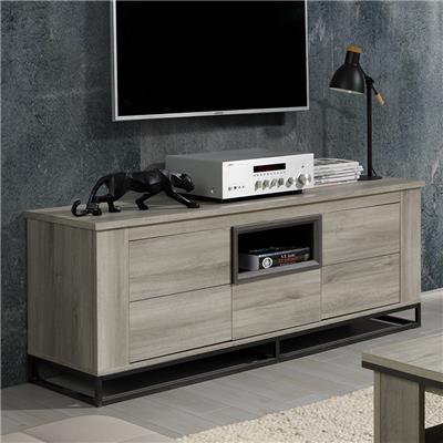 banc tv 155 cm couleur chene gris artemis