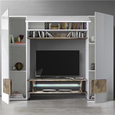 meuble tv mural blanc laque et couleur bois eros 2