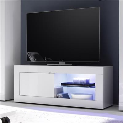 meuble tv lumineux blanc laque design ariel