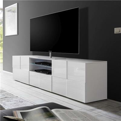 grand meuble tv blanc laque brillant dominos