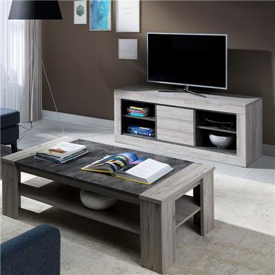 banc tv 150 cm contemporain couleur bois duncan