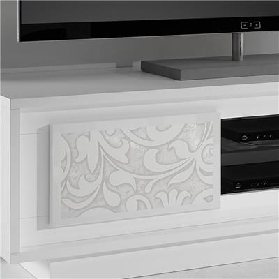 meuble tv blanc laque mat avec motifs fleurs fantine