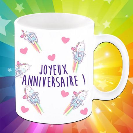 Mug Joyeux Anniversaire Licornes Sur Kas Design