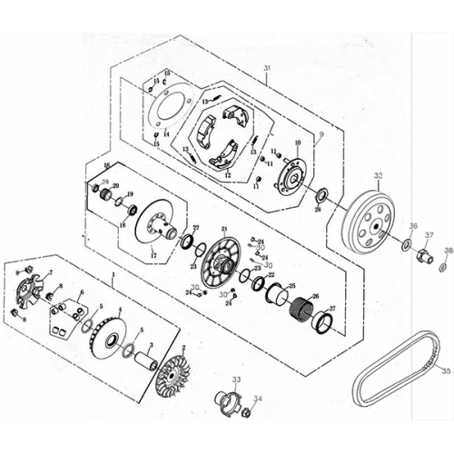 Driven Pulley (Adly ATV Q280)