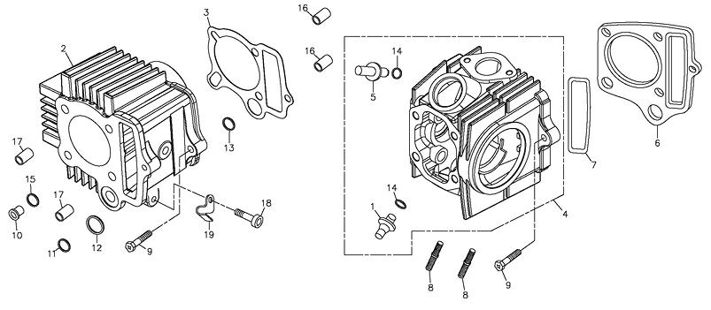 Cylinder, Cylinder Head (Adly ATV 90Z2 4T (Gear Drive))