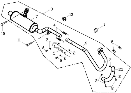 Exhaust Muffler (Adly ATV 150S Interceptor)