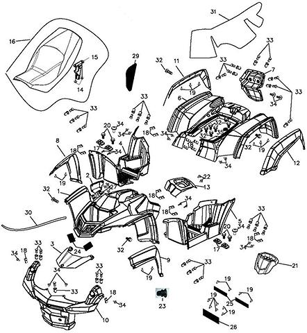 Body Cover / Seat (Adly ATV Q300)