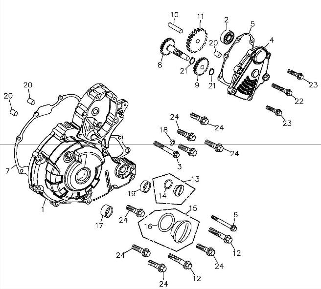 Left Crankcase Cover (Adly ATV 300S II CrossXRoad)