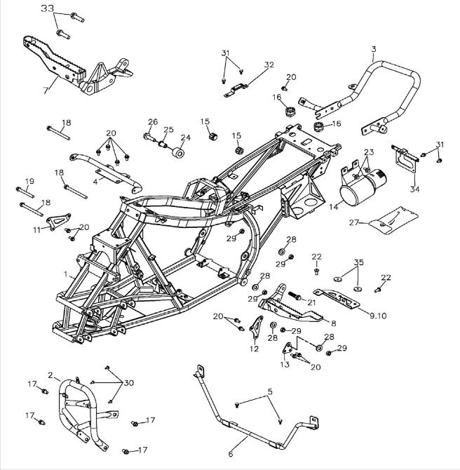 Frame Body (Adly ATV 300S II CrossXRoad)