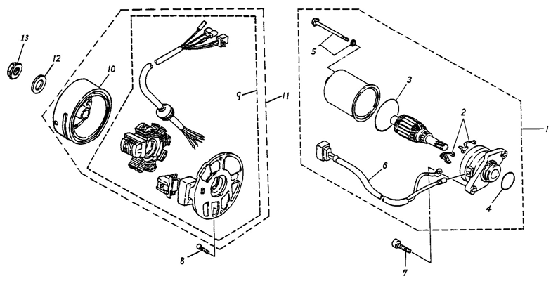 Generator, Starting Motor (Adly ATV 50cc 2T)