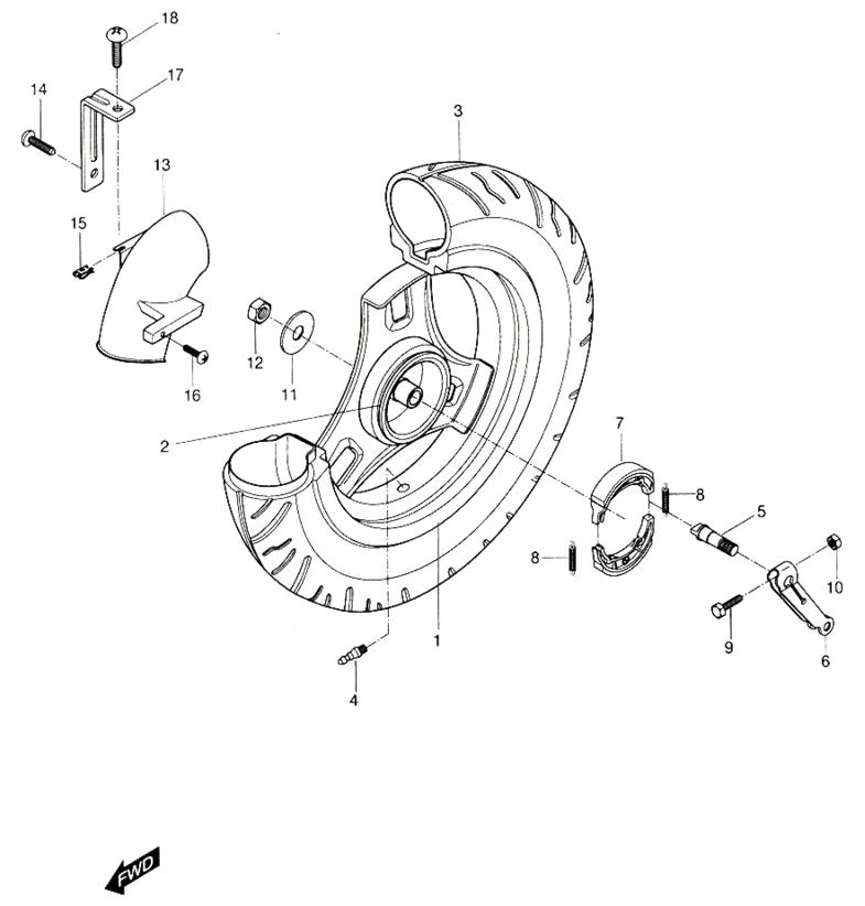 Rear Wheel (Hyosung Sense SD-50 Scooter)